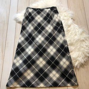 Pendleton Black White Plaid Wool Maxi Skirt
